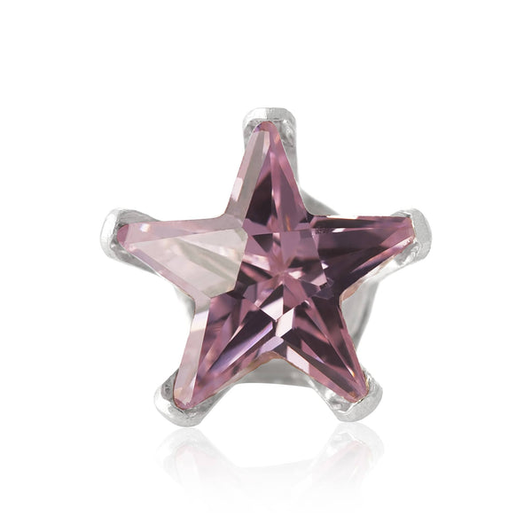 EZ-2490-P Star CZ Stud Earrings 6mm - Pink | Teeda