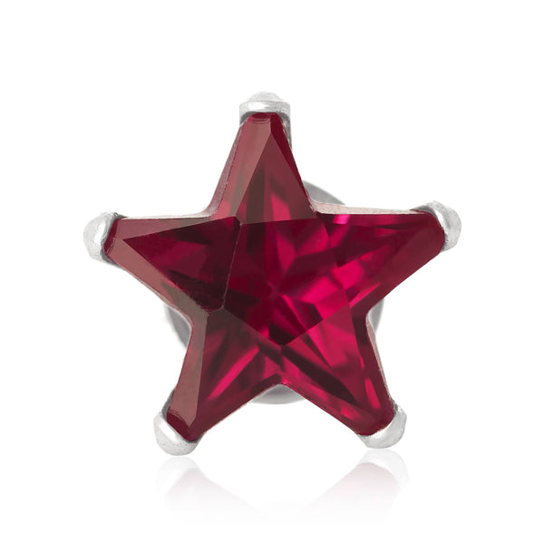 EZ-2490-SR Star CZ Stud Earrings 6mm - Ruby | Teeda