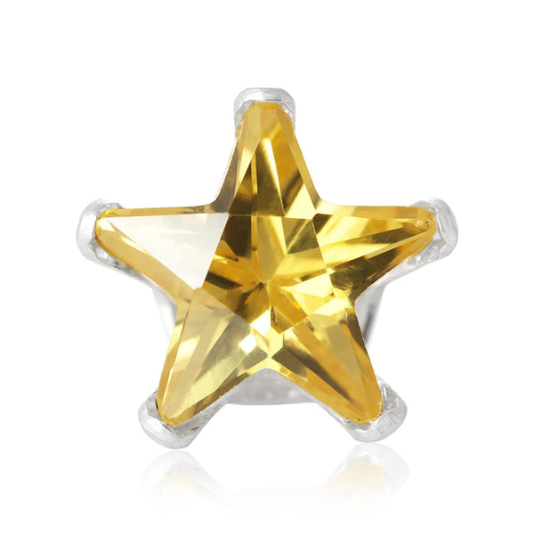 EZ-2490-Y Star CZ Stud Earrings 6mm - Yellow Citrine | Teeda