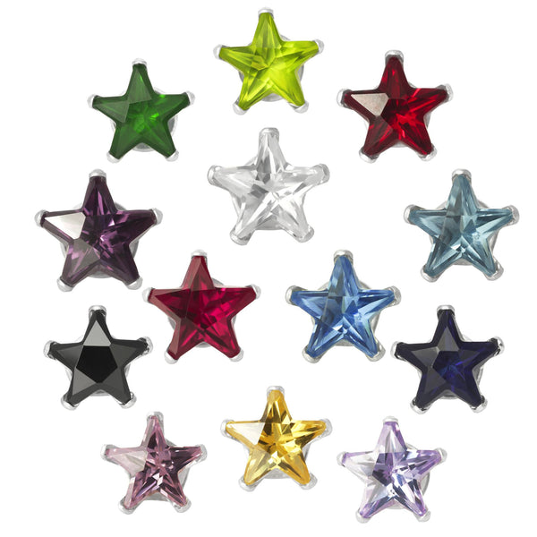 EZ-2490 Star CZ Stud Earrings 6mm