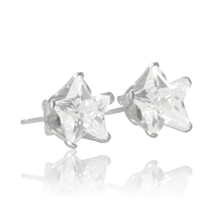 EZ-2500 Star CZ Stud Earrings 7mm | Teeda