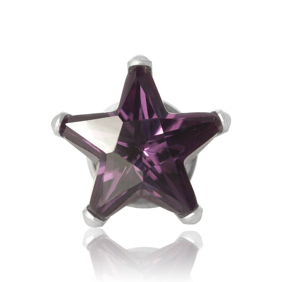 EZ-2510-AM Star CZ Stud Earrings 8mm - Amethyst | Teeda