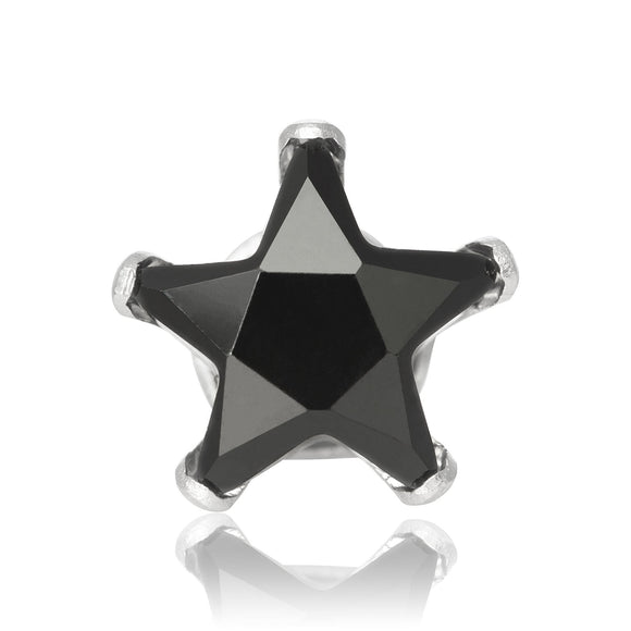 EZ-2510-B Star CZ Stud Earrings 8mm - Black | Teeda