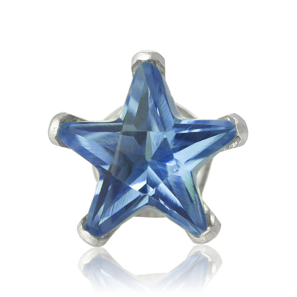 EZ-2510-BZ Star CZ Stud Earrings 8mm - Blue Zircon | Teeda