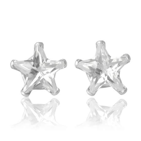EZ-2510-C Star CZ Stud Earrings 8mm - Clear | Teeda