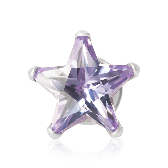 EZ-2510-L Star CZ Stud Earrings 8mm - Lavender | Teeda