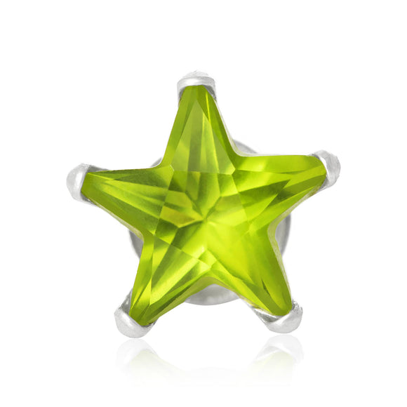 EZ-2510-PE Star CZ Stud Earrings 8mm - Peridot | Teeda