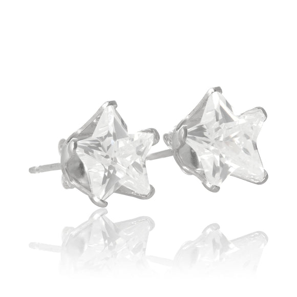 EZ-2510 Star CZ Stud Earrings 8mm | Teeda