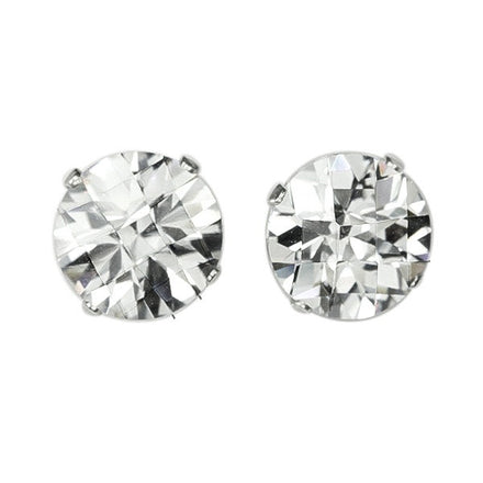 EZ-2540 Round Briolette Cut CZ Stud Earrings 7mm | Teeda