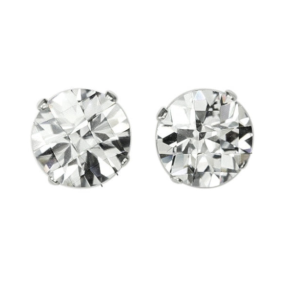 EZ-2550 Round Briolette Cut CZ Stud Earrings 8mm | Teeda