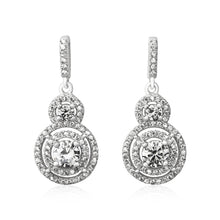EZ-3001 Double Halo Cubic Zirconia Earrings | Teeda