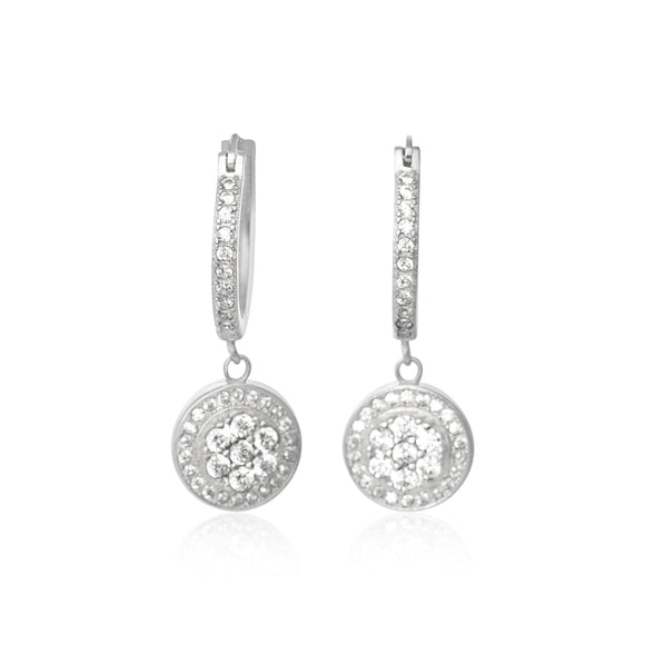 EZ-3003 Cluster Halo Dangle Snap Hoop CZ Earrings | Teeda