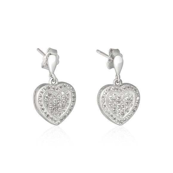 EZ-3004 Framed Heart Micropavé Dangle CZ Earrings