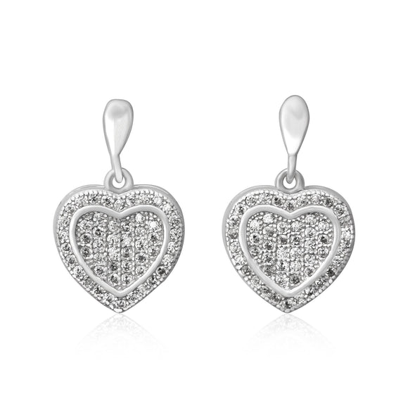 EZ-3004 Framed Heart Micropavé Dangle CZ Earrings | Teeda
