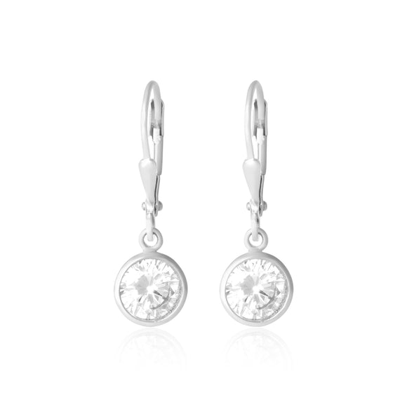 EZ-3005 Bezel Set Round French Wire Earrings | Teeda