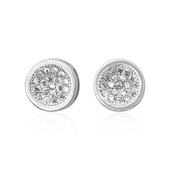 EZ-3006 Round Cluster Cubic Zirconia Post Earrings | Teeda