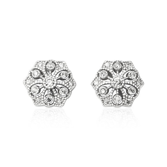 EZ-3007 Vintage Style Hexagon CZ Post Earrings