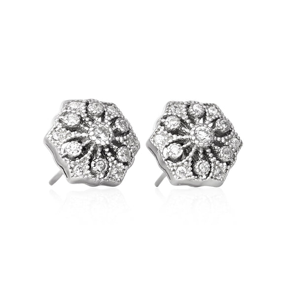 EZ-3007 Vintage Style Hexagon CZ Post Earrings | Teeda