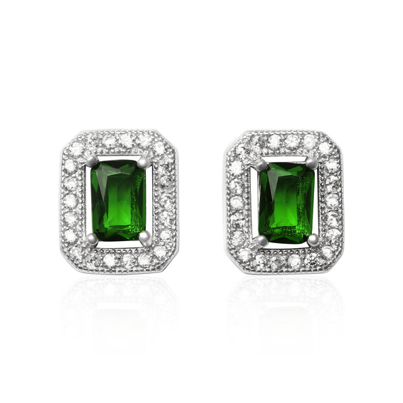 EZ-3009 Emerald Cut Halo Cubic Zirconia Earrings - Emerald | Teeda