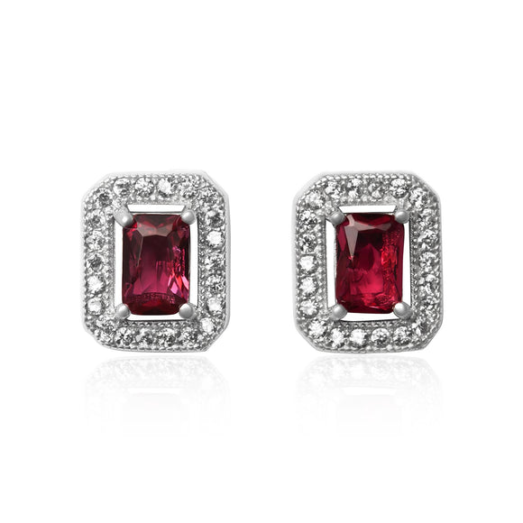 EZ-3009 Emerald Cut Halo Cubic Zirconia Earrings - Ruby | Teeda