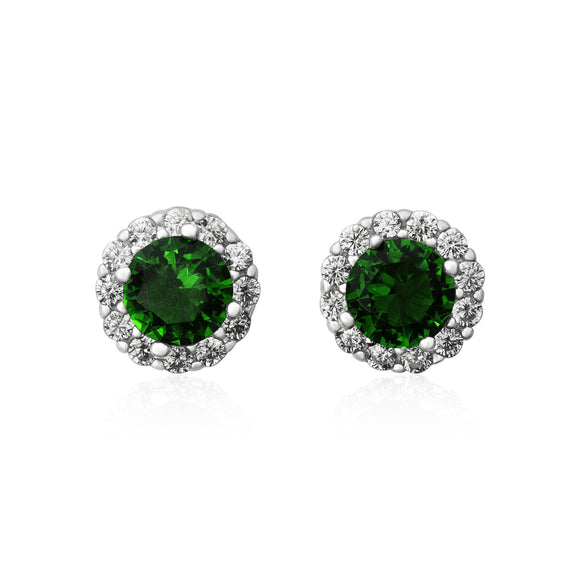 EZ-3011 Round Halo Cubic Zirconia Earrings - Emerald | Teeda