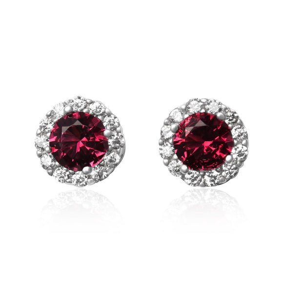 EZ-3011 Round Halo Cubic Zirconia Earrings - Ruby | Teeda