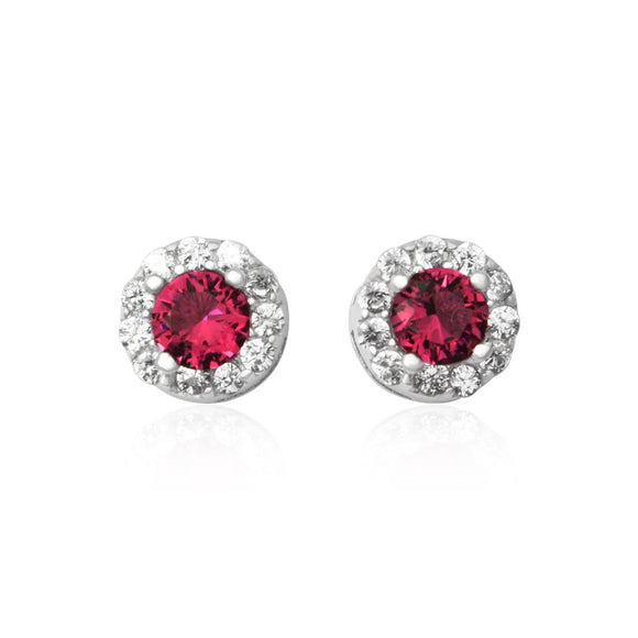 EZ-3012 Round Halo Cubic Zirconia Earrings - Ruby | Teeda