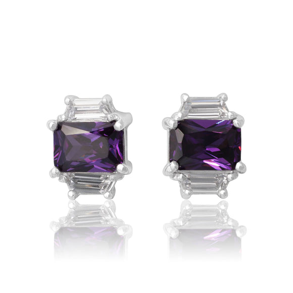 EZ-3275-AM Emerald Cut W Baguettes CZ Earrings Sm - Amethyst | Teeda