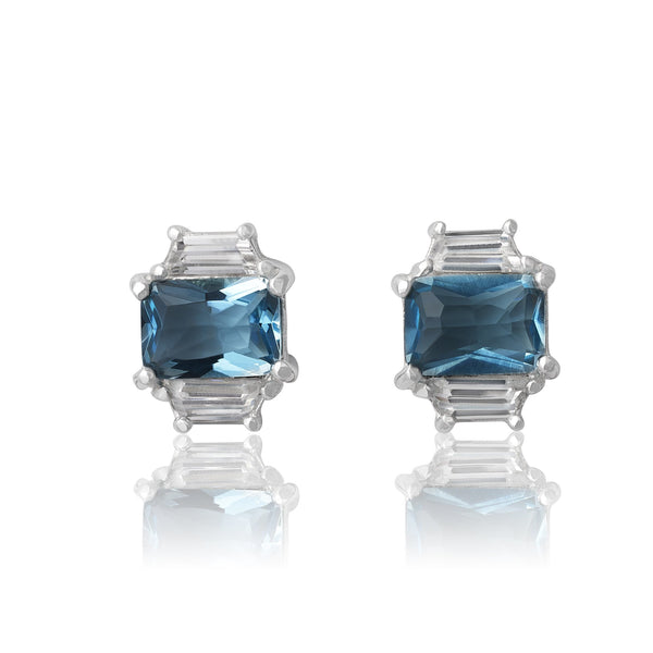 EZ-3275-AQ Emerald Cut W Baguettes CZ Earrings Sm - Aqua | Teeda