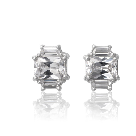 EZ-3275-C Emerald Cut W Baguettes CZ Earrings Sm - Clear | Teeda