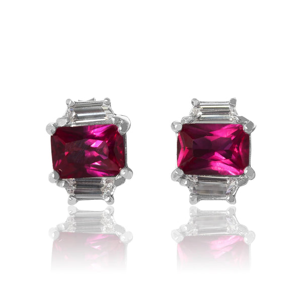 EZ-3275-SR Emerald Cut W Baguettes CZ Earrings Sm - Ruby | Teeda