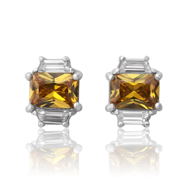 EZ-3275-Y Emerald Cut W Baguettes CZ Earrings Sm - Citrine | Teeda