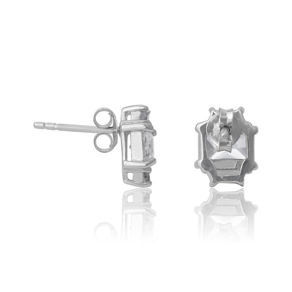 EZ-3275 Emerald Cut w Baguettes CZ Earrings Sm