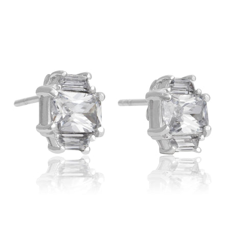 EZ-3275 Emerald Cut w Baguettes CZ Earrings Sm | Teeda