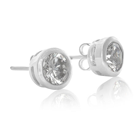 EZ-6180 Bezel Set 6mm Round Stud CZ Earrings | Teeda