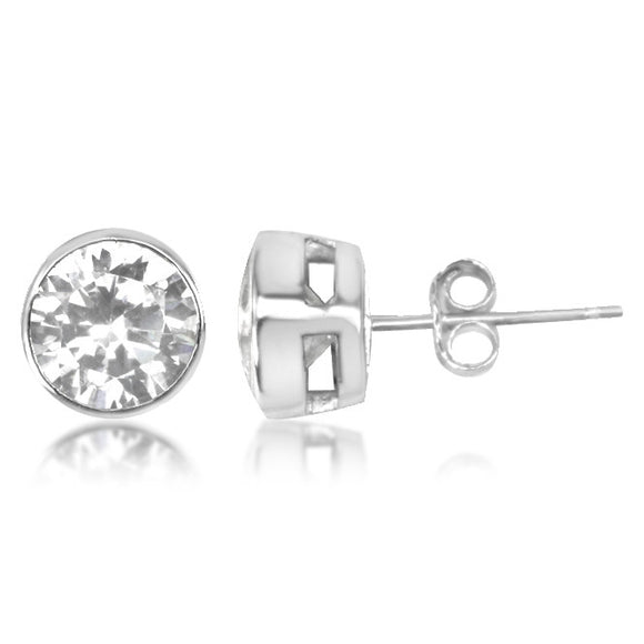 EZ-6200 Bezel Set 7mm Round Stud CZ Earrings