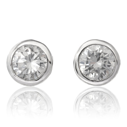 EZ-6200 Bezel Set 7mm Round Stud CZ Earrings | Teeda