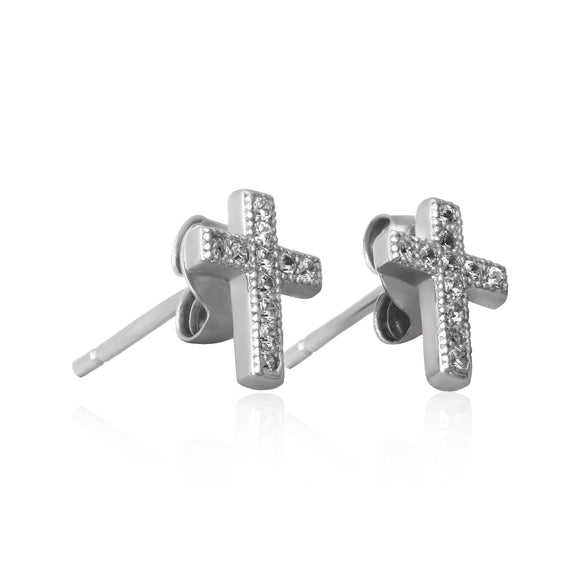 EZ-7028 Cross Cubic Zirconia Earrings