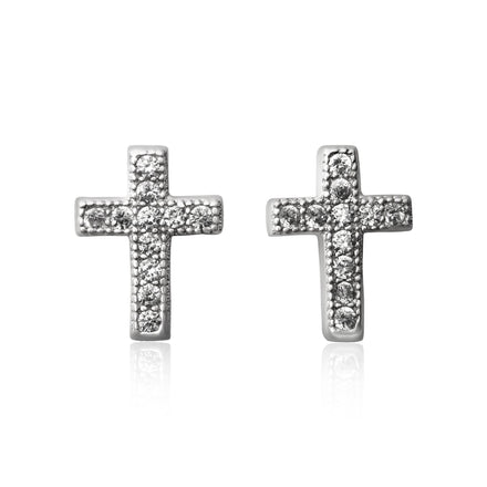 EZ-7028 Cross Cubic Zirconia Earrings | Teeda