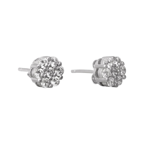 EZ-7030 7mm Cluster Cubic Zirconia Stud Earrings