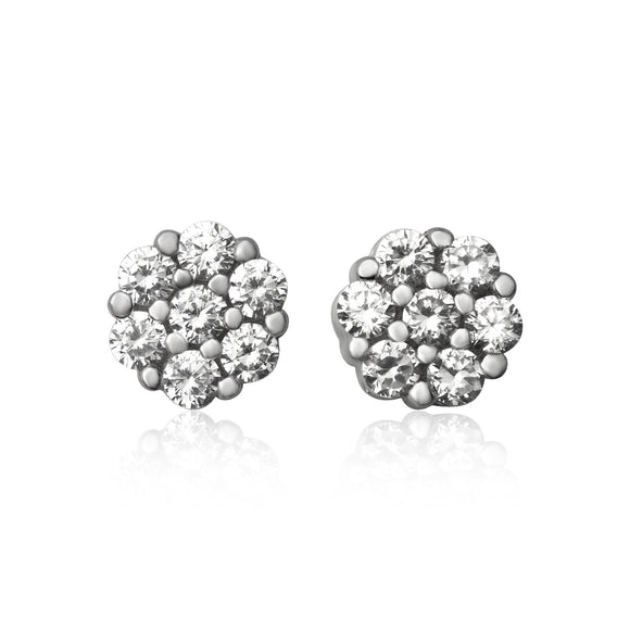 EZ-7030 7mm Cluster Cubic Zirconia Stud Earrings | Teeda