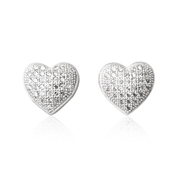 EZ-7032 Heart Micropavé Cubic Zirconia Earrings | Teeda