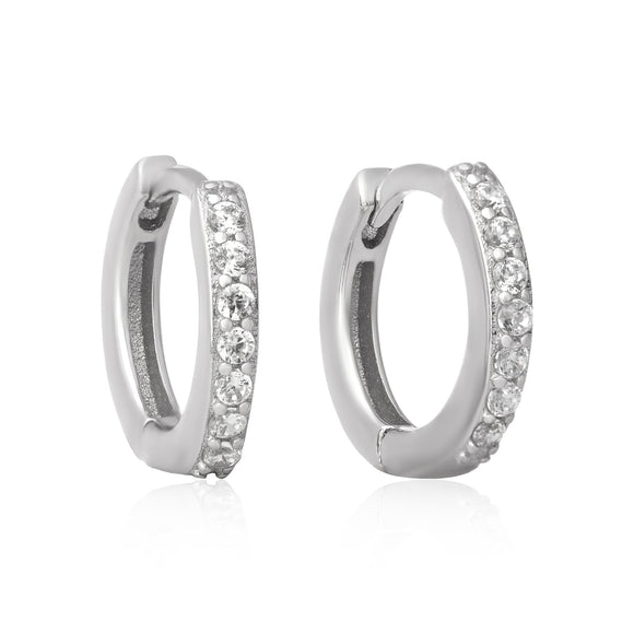 EZ-7033 Cubic Zirconia Huggie Earrings | Teeda