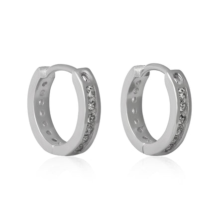 EZ-7041 Channel Set CZ Huggie Earrings | Teeda