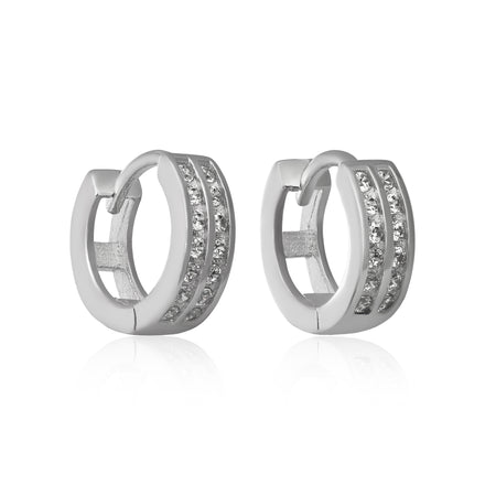 EZ-7043 2 Row Channel Set CZ Huggie Earrings | Teeda
