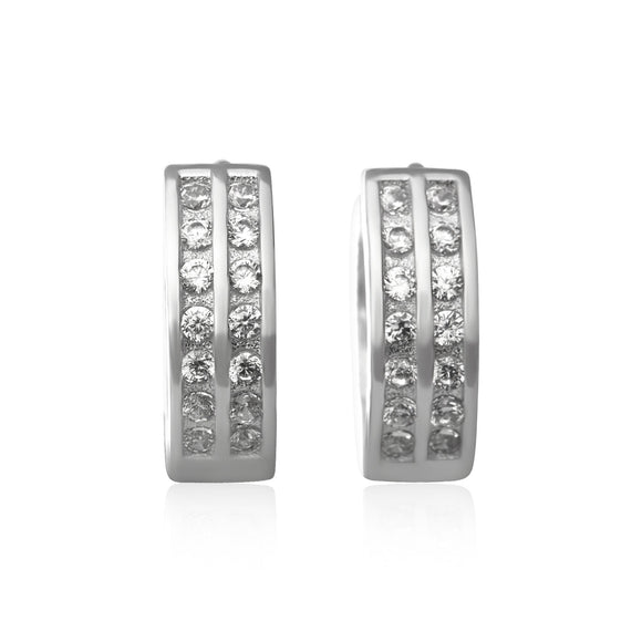 EZ-7043 2 Row Channel Set CZ Huggie Earrings