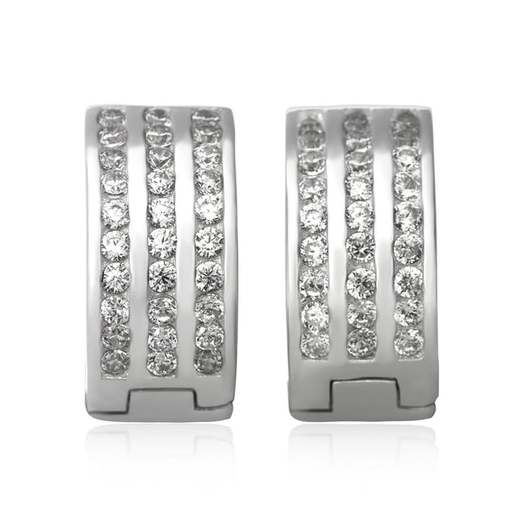 EZ-7045 3 Row Channel Set CZ Huggie Earrings