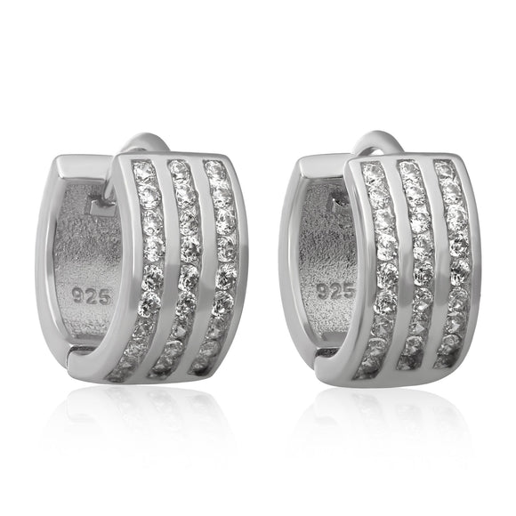 EZ-7045 3 Row Channel Set CZ Huggie Earrings | Teeda
