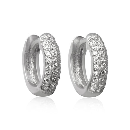 EZ-7046 Pavé Set CZ Huggie Earrings | Teeda