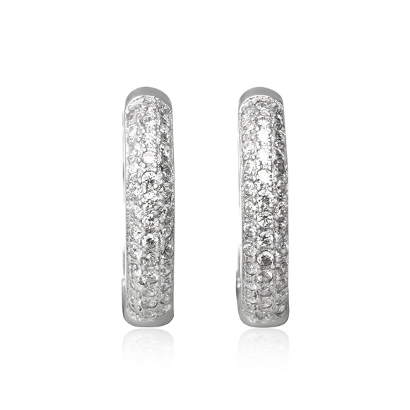EZ-7048 Pavé Set CZ Huggie Earrings